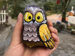 石头丙烯画•猫头鹰