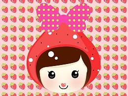 草莓元素创作的一个girl,希望大家给点意见顺便给它起个名字吧