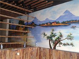 南京主题餐厅柠檬鱼餐厅墙绘 美丽渔村完成效果