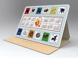 十二生肖金银邮票 年历桌面摆放效果图