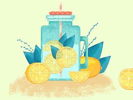 清新柠檬插画