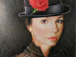 彩铅作品《戴红花的女孩》