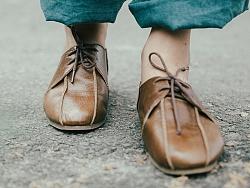 原创 手工做旧纹路复古真皮单鞋