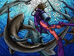 深海系列——遇见牛鲨(手绘过程)