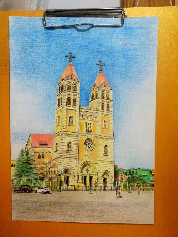 青岛天主教堂彩铅