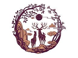 鹿血粉包装设计、主题插画设计
