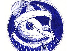 圆珠笔Lovely Winter温暖冬装鸟儿系列插画。  丁几绘于2014年一月初