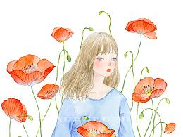 《虞美人花丛里的女孩》水彩绘图过程