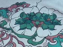 叁公馆·手绘T恤·并蒂莲花