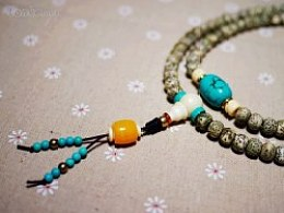 DIY全阴皮星月菩提、绿松石配珠手串