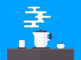 冒着烟雾的茶壶