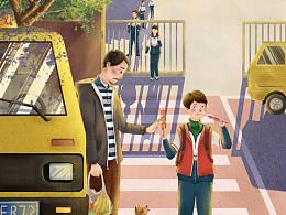 儿童文学插画作品系列2——《天冷就回家》插画创作