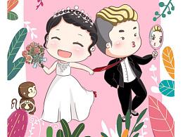 Q版手绘婚礼插画请柬喜帖邀请卡