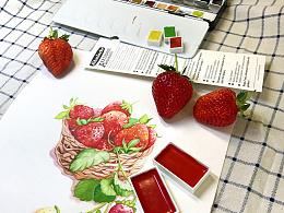 【跟我一起画水彩】食品篇vol.9 超级诱人的草莓  超详细视频教程