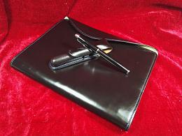 纯手工制作纯黑色笔记本、签字笔套商务套装