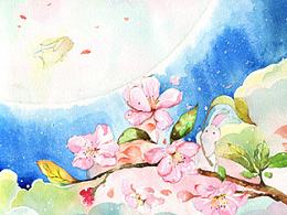 【水彩】—奔月的兔子