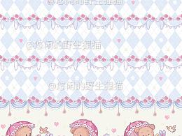 lolita柄图印花甜熊花园