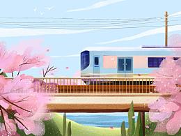 画一个明媚的春天