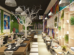 米线店设计效果图 餐饮设计