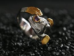 骸首饰设计师原创宽龙鱼戒手工天然宝石纯银镀k金情侣指环礼物