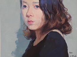 漂亮的女孩水粉肖像