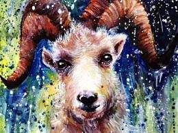 泼洒系列——《盘羊》(羊年)