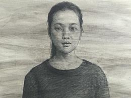 女青年半身带手-水胶带裱纸、索斯做底色