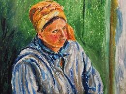 油画棒画--洗衣妇
