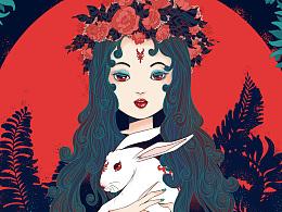 红月玉兔插画