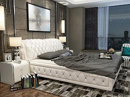 3D家具效果图展示--真皮床,夜景