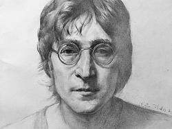 约翰列侬Beatles  甲壳虫素描人像 插画