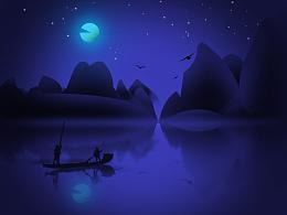 桂林山水风景插画