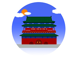 扁平 图标 京城鼓楼