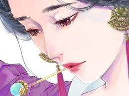 古风仕女图—挽妆过程