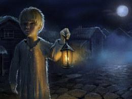 拿油灯的小男孩