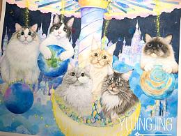 梦幻旋转星球猫咪全家福