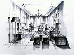 客厅空间一点透视黑白效果绘制步骤图。