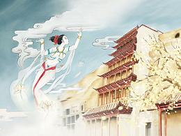 甘肃七大世界文化遗产手绘明信片《丝路敦煌》