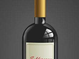 玻璃质感的红酒瓶ICON设计