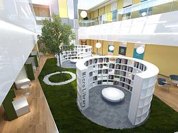 办公楼中庭的几版设计方案效果图