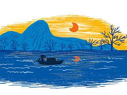 小画- 夏荷、渔舟唱晚、高山流水