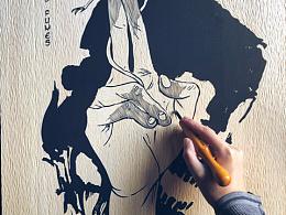 手工雕刻黑白木版画
