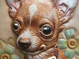 皮塑皮雕动物狗狗