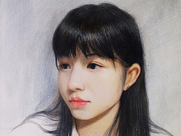 藏在画里的女孩 (彩铅混合少量水彩)