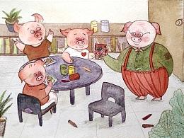 三只小猪的绘画课