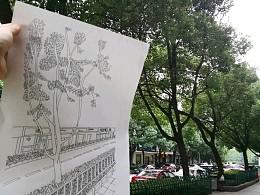 手绘门口的街景