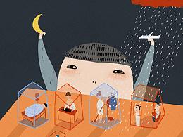 原创作品:原创作品:原创作品:云朵工厂#说晚安吧#让我用插画,跟你说一句,晚安 第五更