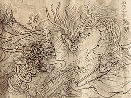 """中国神话""""逐鹿之战""""为题材的长卷创作"""