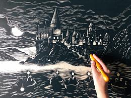 手工雕刻哈利波特·霍格沃茨黑白木板画