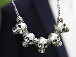 原创设计 帅气骷髅头串金属项链